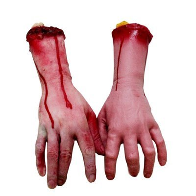 Brazos y manos ensangrentadas humanas, partes de cadáver para casa encantada o decoración de Halloween, 2unidades, izquierda y derecha, Hands
