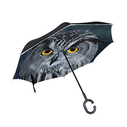 rodde Kappen Regenschirme Reverse für Regen Outdoor Eagle Owl Windproof Double Layer Inverted mit C-förmigen Griff