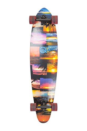 "Quest Island Sunset Pintail Longboard Skateboard, Multicolor, 42"""