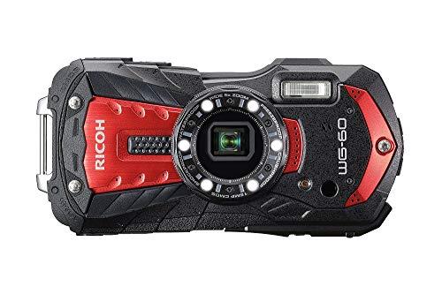 Pentax RICOH WG-60 Rot wasserdichte Kamera Hochauflösende Bilder mit 16MP Wasserdicht bis 14m Stoßfest bis Fallhöhe von 1,6m Unterwassermodus Ring mit 6-LEDs für Makroaufnahmen