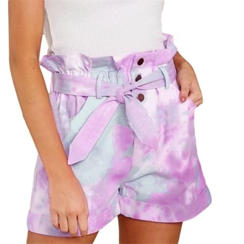 Verano nuevos Pantalones Cortos Sueltos para Mujer cinturón Plisado de Tinte Pantalones Cortos de Talla Grande para Mujer Streetwear Y2 K College Wind Harajuku E Ropa Inferior para niñas
