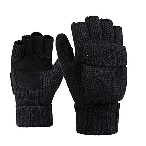 OhhGo Invierno de punto guantes sin dedos calientes convertibles guantes solapa cubierta en clima frío para hombres y mujeres, Negro, Talla única