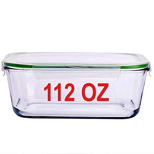112 Oz 14 Cup Glass Food Storage Container with Locking Lid 3.3 L Family Size Extra Large Bakeware Marinating Lock Baking Dish Container Glasslock Bowls Meal Storing & Serving Food Leakproof Rectangle