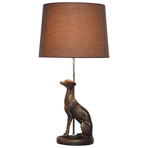 CGC Antieke bronzen windhond tafellamp met grijze schaduw koffie nachtkastje hond licht