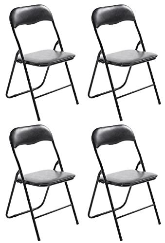 CLP 4er Set Klappstuhl Felix Gepolstert I Küchenstuhl Mit Metallgestell I Kunstleder PVC Sitz Gepolstert I Stühle Klappbar I Campingstühle, Farbe:schwarz/schwarz