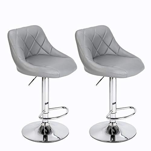 ALightUp Taburete de Bar, Juego de 2 sillas Altas de Color Gris para Barra de Cocina, Ajustable en Altura con Respaldo y reposapiés, Base cromada giratoria de 360 ° para Barra de Sala de Estar