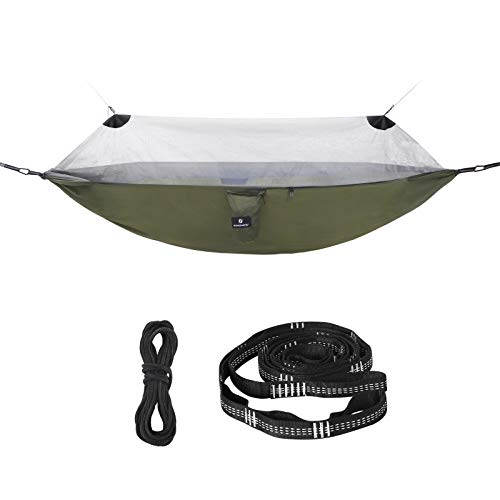 SONGMICS Ultra-Light Hammock with Mosquito Net, Portable Double Hammock, Ripstop Nylon, Quick Dry, Multi-Loop Straps, Max. Load 300 kg, 275 x 140 cm, for Camping, Garden, Army Green and Grey GDC16AG