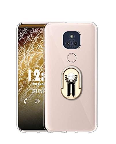 Sunrive Funda compatible con Motorola Moto G Play (2021), Soporte Teléfono Coche Silicona Transparente Gel Carcasa Case Bumper Anti-Arañazos Espalda Cover anillo Kickstand 360 grados giratorio(Dorado)