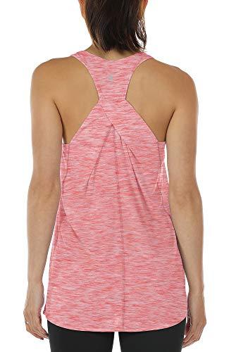 icyzone Damen Yoga Fitness Tank Top Lang - Training Jogging Ärmelloses Shirt Sport Oberteil Tops (L, Red)