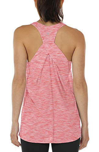icyzone Damen Yoga Fitness Tank Top Lang - Training Jogging Ärmelloses Shirt Sport Oberteil Tops (L, Red)