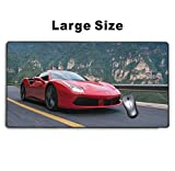 Meharmh - Large Gaming Mouse Pad,Extended Mousepad with Non-Slip Rubber Base for Laptop Computer Desktop Keyboard,Stitched Edges Mat - Fast Red Car Ferrari Sports