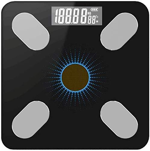 NCRD Escalas para el Peso Corporal Baño Escala de Peso Digital para la Grasa Corporal, Escala de Bluetooth Inteligente para IMC, con Plataforma de Vidrio Templado LCD Digital Grande con aplicación de