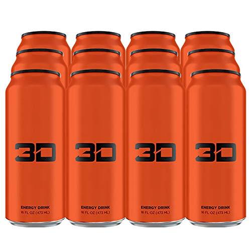 3D Energy Drink | Caffeine, Zero Sugar, Taurine, Panax Ginseng, Inositol, Guarana Seed, L-Carnitine Tartrate, 12 x 473ml, Orange