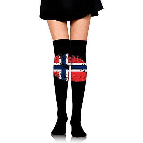 Jesse Tobias Der Stiefel-Schenkel-hohe Socken der Norwegen-Flaggen-Lippenfrauen über dem kniehohen Strumpf