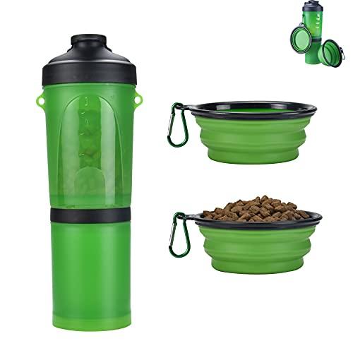 YUDOXN Bebedero Perro Portatil,Botella de Agua para Perros Portatil Envase de Comida para Perros con 2 Plegable Tazones para Caminar al Aire Libre (Verde)