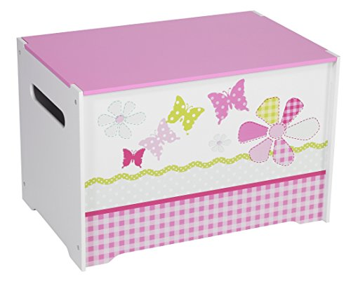 Patchwork Butterflies and Flowers Kids Toy Box - Childrens Bedroom Storage Chest with Bench Lid by HelloHome