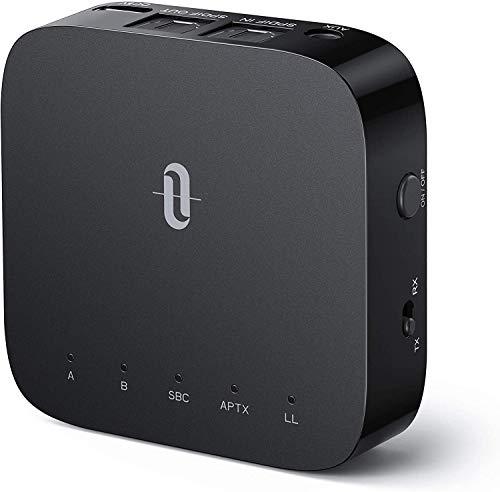 TaoTronics Bluetooth 5.0 Trasmettitore e Ricevitore 2-in-1 per TV, aptX a Bassa Latenza Adattatore Audio da 3,5 mm AUX, SPDIF in/out, Doppio Collegamento, 24 Ore di Riproduzione