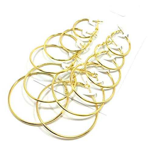Binghotfire 6 Pairs/Set Big Circle Hoop Earrings Women Party Fashion Jewelry Ear Clip Gold