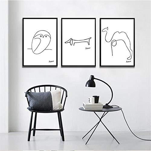 nobrand Abstracte zwart-wit-lijntekening dieren varken paard pinguïn schetsen poster canvas schilderij wandschilderij huis decoratie no frame-A_40x50cmX3