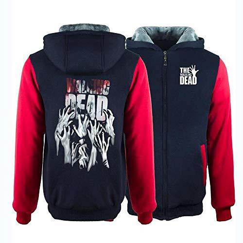 QWEIAS Walking Dead Plus Velvet Verdickte Zipper Jacke Studenten Kapu Winter-Sweatshirt Warm Jacke H-M