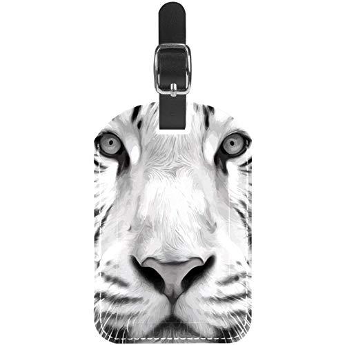 Etiquetas de equipaje de cuero blanco bengala tigre bestia etiquetas para maleta de viaje, 1 paquete
