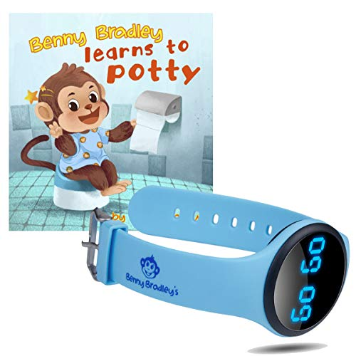 Benny Bradley's Potty Training Watch, with Potty Training eBook - Musical and Vibration Interval Reminders, Water Resistant, for Babies, Toddlers and Kids Potty and Toilet Training (Blue)