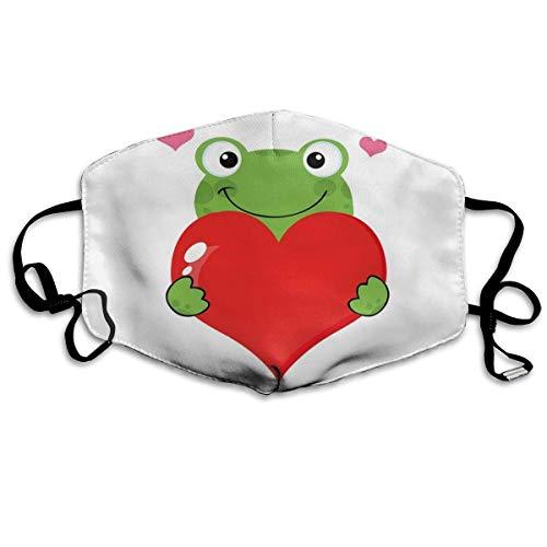 mundschutz Atmungsaktive Gesichtsbedeckung Mundbedeckung Staubdicht Niedlicher Cartoon-Frosch mit Riesenherz-Anbetungsthema Lustiger Charakter, Gesichtsdekorationen