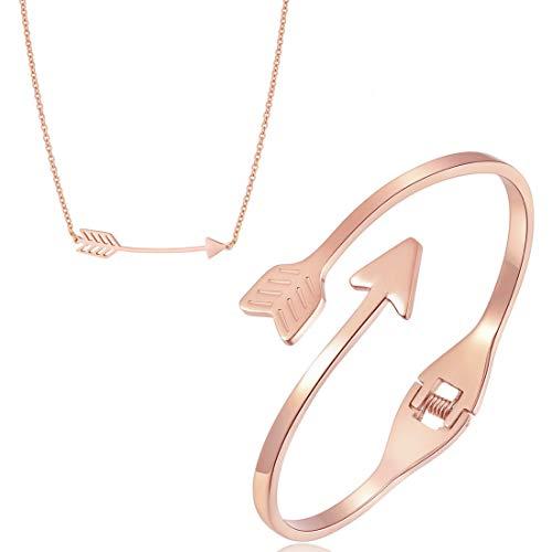 Kim Johanson Minimalistisches Damen Schmuckset *Love Arrow* aus Edelstahl in Roségold Pfeil Halskette & Armreif inkl. Schmuckbeutel