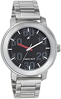 Fastrack Casual Men's Black Dial Stainless Steel Band Watch - T3121SM02
