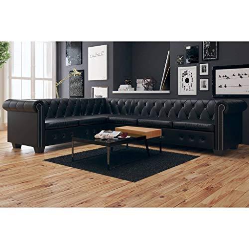 Binzhoueushopping Chesterfield Hoekbank, 6 zits, kunstleer, zwart, 260 x 205 x 73 cm, ideaal voor thuis of op kantoor