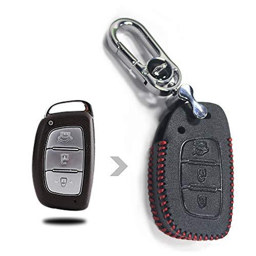Tuqiang® Hand nähen Echt-Leder Schlüsselcover Autoschlüssel hülle Schutz hülle für 3 Tasten Intelligent Schlüssel 1 Stück