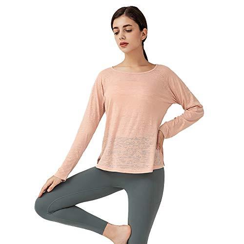 VDSON Ladies Sports Quick-Dry Damen-Rundhalsausschnitt Loser Sport Top Schnell Trocknend T-Shirt Lauf Bluse Yoga Wear Sporttraining Athletic Fitness Running (Color : Rose pink, Size : XL)