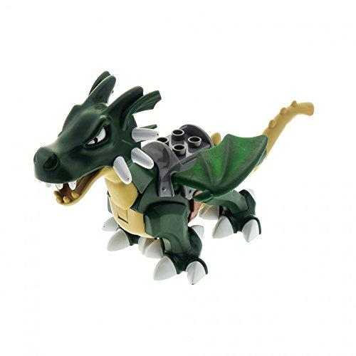 1 x Lego Duplo Drache grün mit Sattel Tier Zoo Ritter Burg Black Castle 4785 5334c01pb01