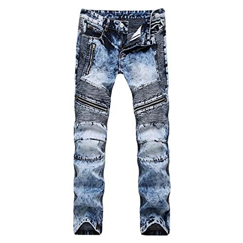 Jeans Vaqueros Pantalon Pantalones Vaqueros De Moda Para Hombre, Pantalones Casuales Rasgados, Ajustados,...