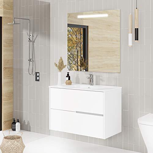 Baikal Conjunto Mueble de baño Gavin, 80cm, 2 cajones, suspendido en Pared. Incluye Lavabo cerámico y Espejo con iluminación LED. Acabado Blanco Mate. Se Entrega Montado, Melamina 16mm, 80 X 46 X 56