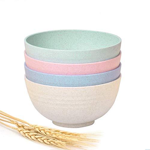 Set de 4 Piezas Cuencos de bambú con Capacidad de 700 ml. Vajilla de bambú para Aperitivos Desayuno Fruta Cereales y Cumpleaños