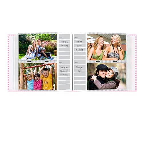 Pioneer Photo Albums 200-Pocket Gingham Fabric Frame Cover Photo Album for 4 by 6-Inch Prints, Pink |