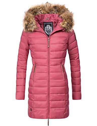 Marikoo Damen Winter-Mantel Steppmantel Rose Berry Gr. XS