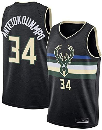 Shelfin Jersey De Hombre Bucks De Milwaukee Jersey De Las Mujeres De Los Hombres No.34 Antetokounmpo Jerseys Transpirable Bordado Baloncesto Swingman Jersey (Color : Black D, Size : M)
