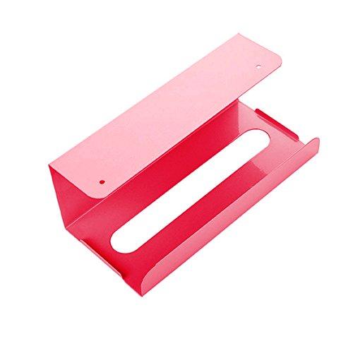 Yimosecoxiang rutschfester Seidenpapierhalter Eisen Aufbewahrungsbox Rahmen Home Kitchen Cabinet Hanging Box – Hellblau hellrosa