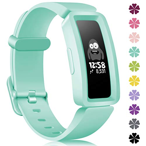 KOLEK Bands Compatible with Fitbit Ace 2 for Kids,Soft Silicone Waterproof Bracelet Accessories Sports Watch Strap Wristbands Replacement for Fitbit Ace 2 Boys Girls,Marine Green