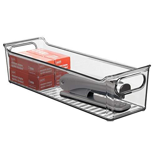 mDesign Box in plastica ideale in cucina, ufficio e bagno – Pratico contenitore trasparente con manici integrati – Portaoggetti in robusta plastica – grigio fumo