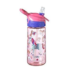 Nuby Bouteille d'eau licorne pour enfants, gourde d'école, fabriquée en Tritan durable, sans BPA, licornes irisées