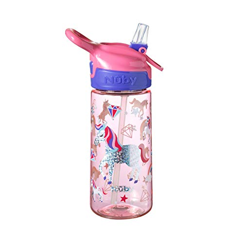 Nuby Unicorn Water Bottle for Kids, School Drinks Bottle Made of Durable Tritan, Bpa Free, Iridescent Unicorns