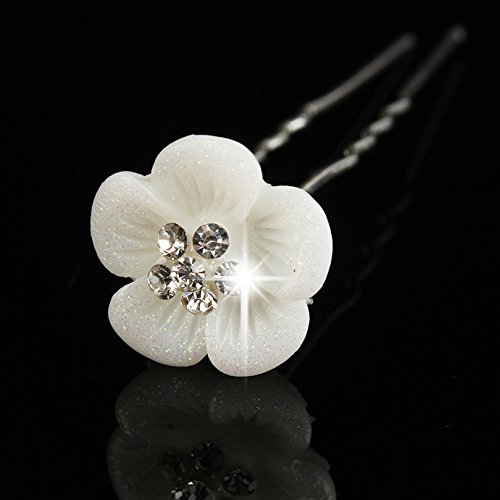 Power of Parfumes Miya® Lot de 4 pour princesse Mei de qualité Fleur Magnifique cheveux spirales en perles strass, Mariée Mariage Cérémonie épingles à