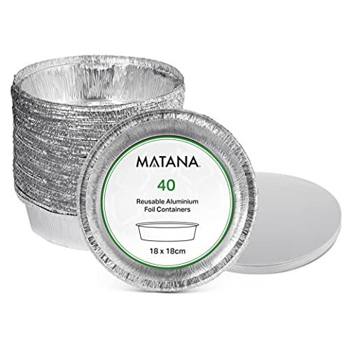 Matana 40 Bandejas Redondas Desechables de Aluminio con Tapa - 800ml