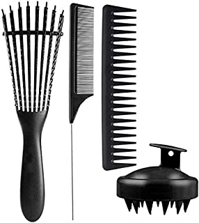 4Pcs Paddle Hair Brush, Shampoo Brush, Detangling Brush Scalp Massager Hair Comb Set for Men and Women, Great On Wet or Dr...