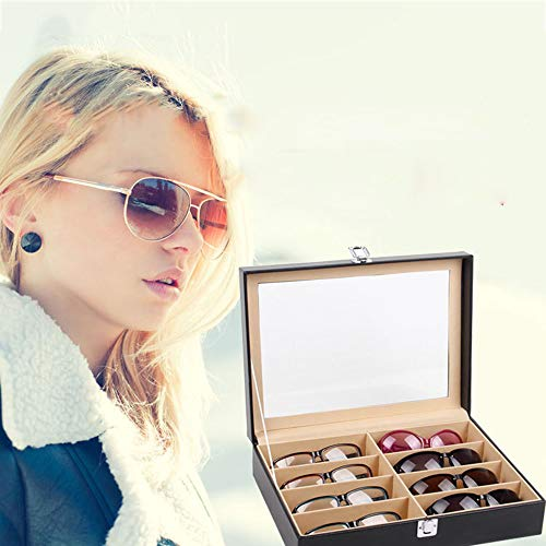 WMC Sunglasses Case, 8 Slot Eyeglass Sunglass Storage Box, Leatherette for Glasses Storing Display Holder Sunglasses Organizer, Black