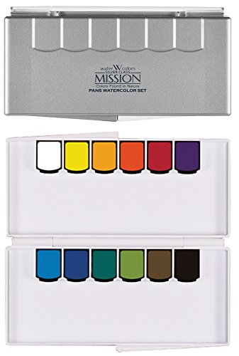 Mijello Mission Silver Pan Watercolor Set Compact Size with Water Brush by CrushOn (Silver Pan 12 Colors)