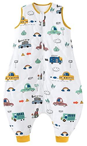 Chilsuessy Baby Schlafsack mit Füße 2.5 Tog Ganzjahres Schlafsack Baby Schlafsäcke ohne Ärmeln Babyschlafsack mit Beinen für Säugling Kinder, Stadt Autos, 100cm/Baby Höhe 110-120cm